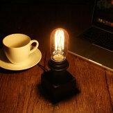 E27 Retro Lampa stołowa na biurko drewniana podstawa Vintage Industrial Urban Loft Lampka nocna do czytania 90-240 V.