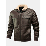 Mens PU Leather Thicken Zip Front Lapel Collar Jackets With Flap Pockets