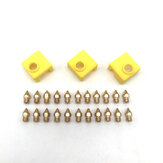 Makerbot MK8 Pointed Brass Nozzle 1.75mm + Yellow Silicone Sleeve Kit for 3D Printer