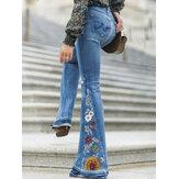 Dames Bloemenborduurwerk Stijlvolle Casual Bell-Bottom Jeans Met Zakken