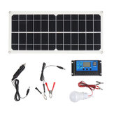 10W 12V/5V USB Solar Panel Power System Battery Charger Generator LED Light Bulb W/ 10A Controller