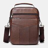 Men Genuine Leather Retro Business Vertical Handbag Crossbody Bag