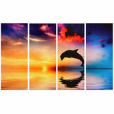 4Pcs/set Dolphin Sunset Sea Wall Decorative Paintings Canvas Print Art Pictures Frameless Wall Hanging Decorations for Home Office