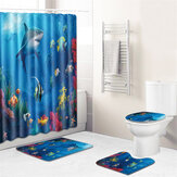 Bathroom Non-Slip European Marine Starfish Decoration Style Decoration Base Carpet Lid Toilet Cover Bathroom Mat Shower Curtain