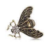 Broche de inseto de cigarra vintage Steampunk Bronze Rhinestone