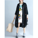 Plus Size Women Casual Cardigan Loose Long Sleeve Embroidery Dress