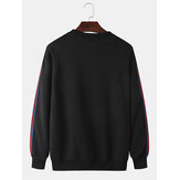 Cotton Mens Side Wbeeing Patchwork Round Neck Pullover Black Casual Sweatshirts