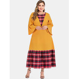 Plus Size Plaid Patchwork Maxi Dress