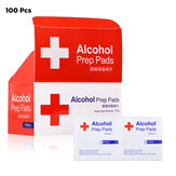 100PCS 3/6x6cm 75% Alcohol Formula Wipes Pads Disposable Disinfection Cleaning Wet Wipes
