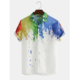 Mens Splash Ink Watercolor Print manga curta Praia Party Business Casual Shirts