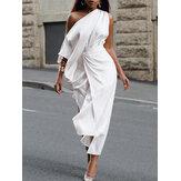 Kadın Düz Renk Kolsuz One Omuz Yandan Bölünmüş Kemer Avrupa Tarzı Maksi Elbise