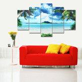 5PCSقماشلوحاتالمناظرالبحريةشاطئ الطباعة الحديثة جدار ديكور المنزل الفن