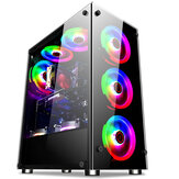 Coolmoon Hyun Shadow Desktop Computer Case Double-sided Glass Transparent Side Panel ATX PC Computer Case for Home Office