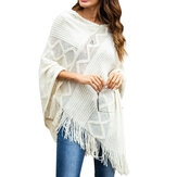 Mulheres Pure Color geométrica solta Knit Shawl Tassel Sweater