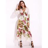 Sexy Women Print Bishop Sleeve Dress