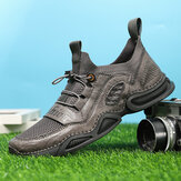 Men Leather Breathable Mesh Comfy Fabric Soft Bottom Elastic Band Casual Sports Shoes