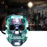 Silver Light Up LED Skull Skull Rave Maschera Partito di costume di Halloween Cosplay
