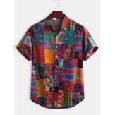 الرجال القطن نمط العرقية طباعة الأزهار عارضة قمصان قصيرة الأكمام