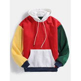 Mens Color Block Patchwork Design Hoodies Serut Lengan Panjang