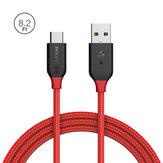 BlitzWolf® Ampcore BW-TC7 3A USB Тип-С Мужской плетеный зарядный кабель для передачи данных 8.2ft / 2.5m магнитный ленточный ремень