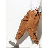 Erkek Kadife Düz Renk İpli Orta Bel Elastik Kelepçe Jogger Pantolon