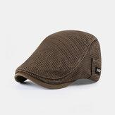 Hommes Polyester Solide Couleur Respirant Mince Chapeau Mince D'été En Plein Air Parasol Visière Béret Chapeau Avant Chapeau