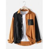 Camisa de manga larga de algodón y lino de color liso para hombre Diseño con bolsillo