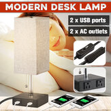 Bedside Table Desk Lamp With 2 USB Charging Ports & 2 AC Outlets Fabric Shade