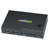 AIMOS USB HDMI switch Box Video switch Display 4K Splitter KVM switch til 2 pc'er Share switcher tastatur mus printer plug and play