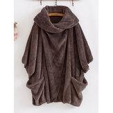 Batwing Sleeve Fleece Casacos Quentes