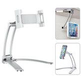 Desktop Pull-Up Phone Tablet Holder Stand 2 in 1 Flexible Lazy Stretch Bracket Adjustable 360 Rotating Mount for Live Bed Kitchen