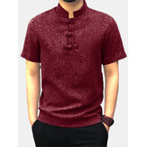 Männer Casual Kurzarm Stand Kragen Chinese Style Button Shirts Kung Fu Tops Tee