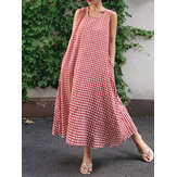 Women Casual Sleeveless Plaid Side Pocket Loose Maxi Dress