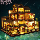 Kreative Puppe Miniatur-Holzmöbel im Maßstab 1:24 Satz Mini Handmade Big Japanese Courtyard Modell Plus mit LED & Spieluhr