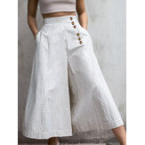 Women Striped Print Side Button Casual Stylish Loose Wide Leg Pants
