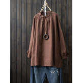 Women Cotton Stand Collar Long Sleeve Solid Blouse