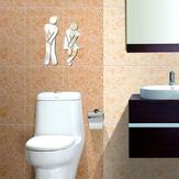 3D Espelho Acrílico Prata Decalque De Etiqueta De Parede Banheiro Toilet DIY Square Mirror Sticker