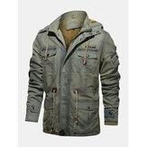 Casacos masculinos com capuz e múltiplos bolsos com cordão na cintura e grossos e quentes jaquetas vintage
