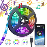 1/3 / 5M USB Waterpoof 5050 LED-stripverlichting RGB-muziekachtergrondverlichting Bluetooth APP-afstandsbediening