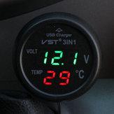 Ładowarka samochodowa USB Termometr woltomierzowy