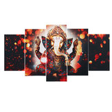 5Pcs Ganesha Elephant Canvas Print Paintings Wall Decorative Print Art Pictures Wall Hanging Decorations for Home Office