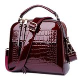 Women Patent Leather Seashell Bag Portable Diagonal Bag