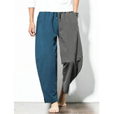 Mens 100% Cotton Patchwork Elastic Waist Pants