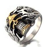 Heren Titanium Staal Ring Vintage Schedel Hoofd Punk Vinger Ring Voor Mannen