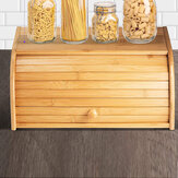 Bamboo Wood Roll Top Bread Bin Storage Box Kitchen Food Case Loaf Container