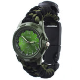 IPRee® 4 Em 1 EDC Survival Compasss Bracelet Watch Camp Emergency Nylon Pulseira Paracord