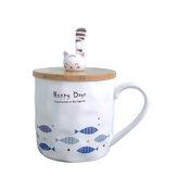 Carino tazza in ceramica tazza pesce Modello con coperchio tazza in legno a forma di gatto e tazza cucchiaio per la decorazione domestica dell'ufficio scolastico