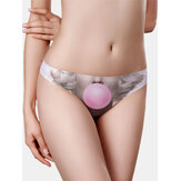 Seamless Women Funny Face Print Ice Silk Breathable Low Rise Panties