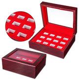 Деревянные 12 отверстий Коробка Для коллекции чемпионских колец Дисплей Красный Черный