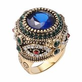 Boheems Blue Rhinestone Finger Ring etnische vergulde ring